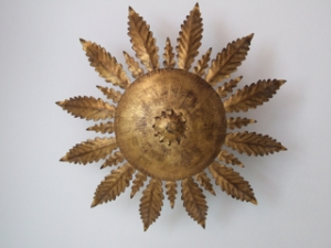 Sunburst gilt ceiling fixture. Spain, late 1950s.